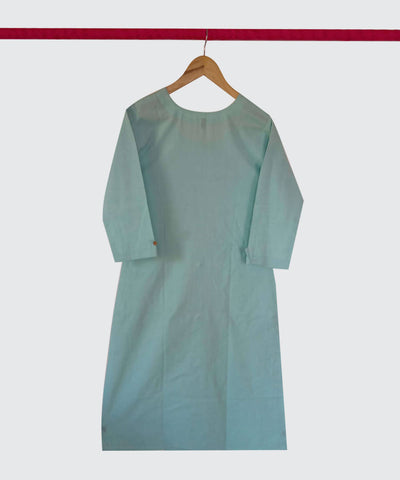 Aqua Blue Handspun Handwoven Cotton Kurti