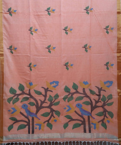 Peach Handloom Malmal Cotton Saree