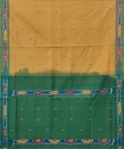 Yellow Green Handwoven Tie and dye cotton Butta Work Saree