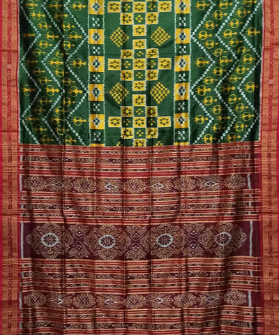 Green and Maroon Handwoven Khandua Silk Saree