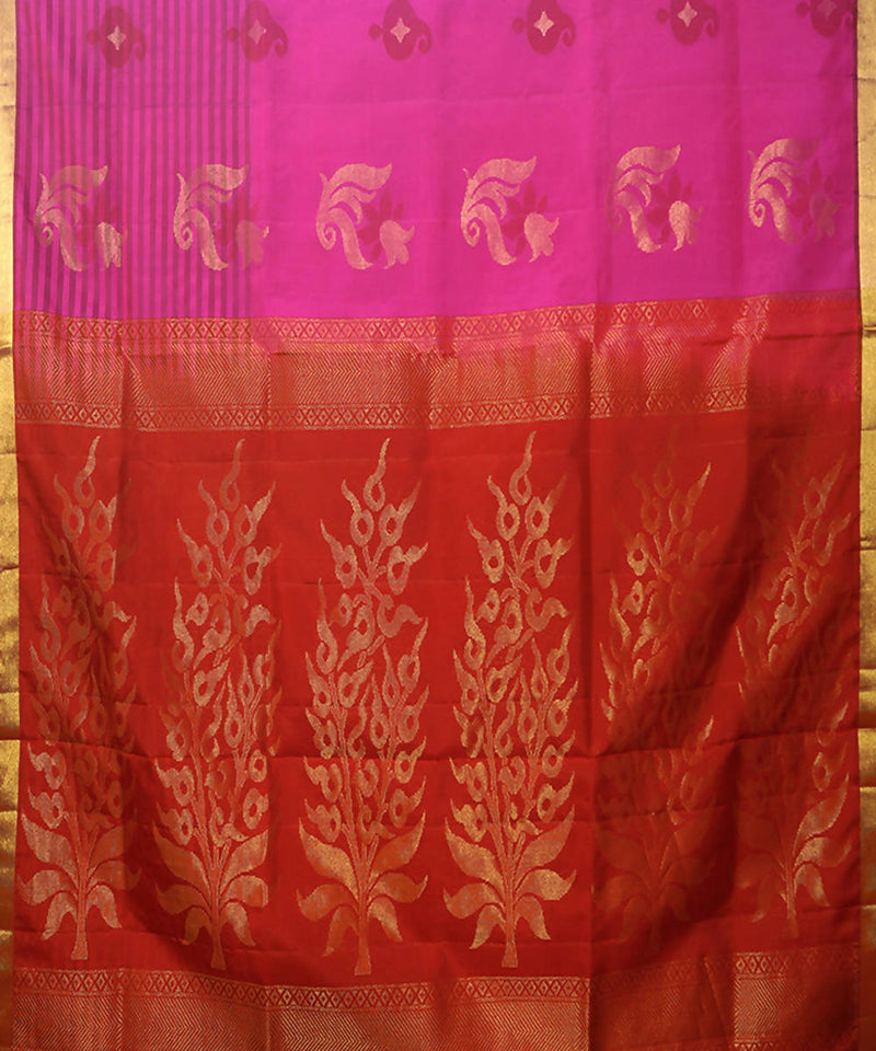 Pink Purple Handloom Soft Silk Saree