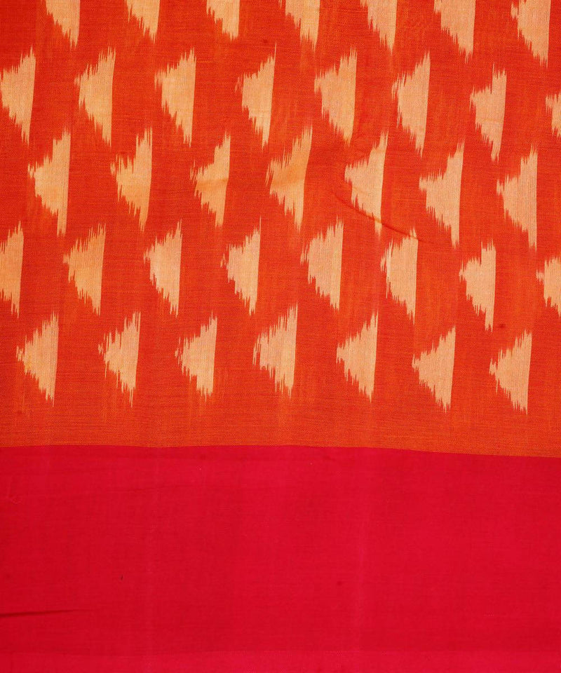 Orange Red Handloom Ikkat Cotton Saree