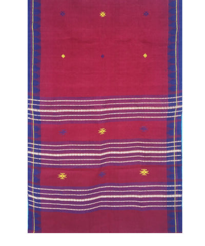 Maroon Blue Natural Dye Handloom Kotpad Cotton Stole