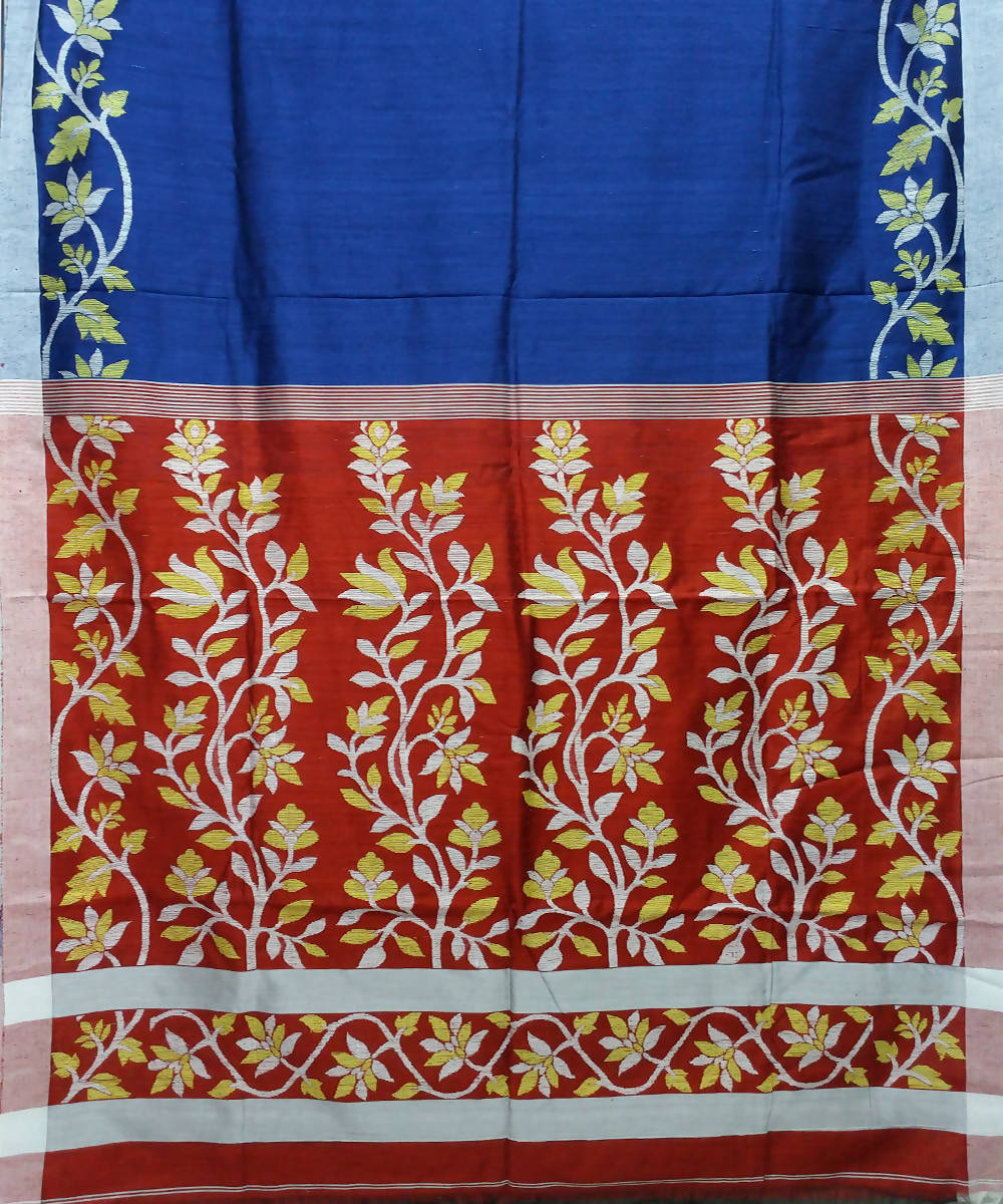 Blue and Maroon Handloom Matka Silk Jamdani Bengal Saree