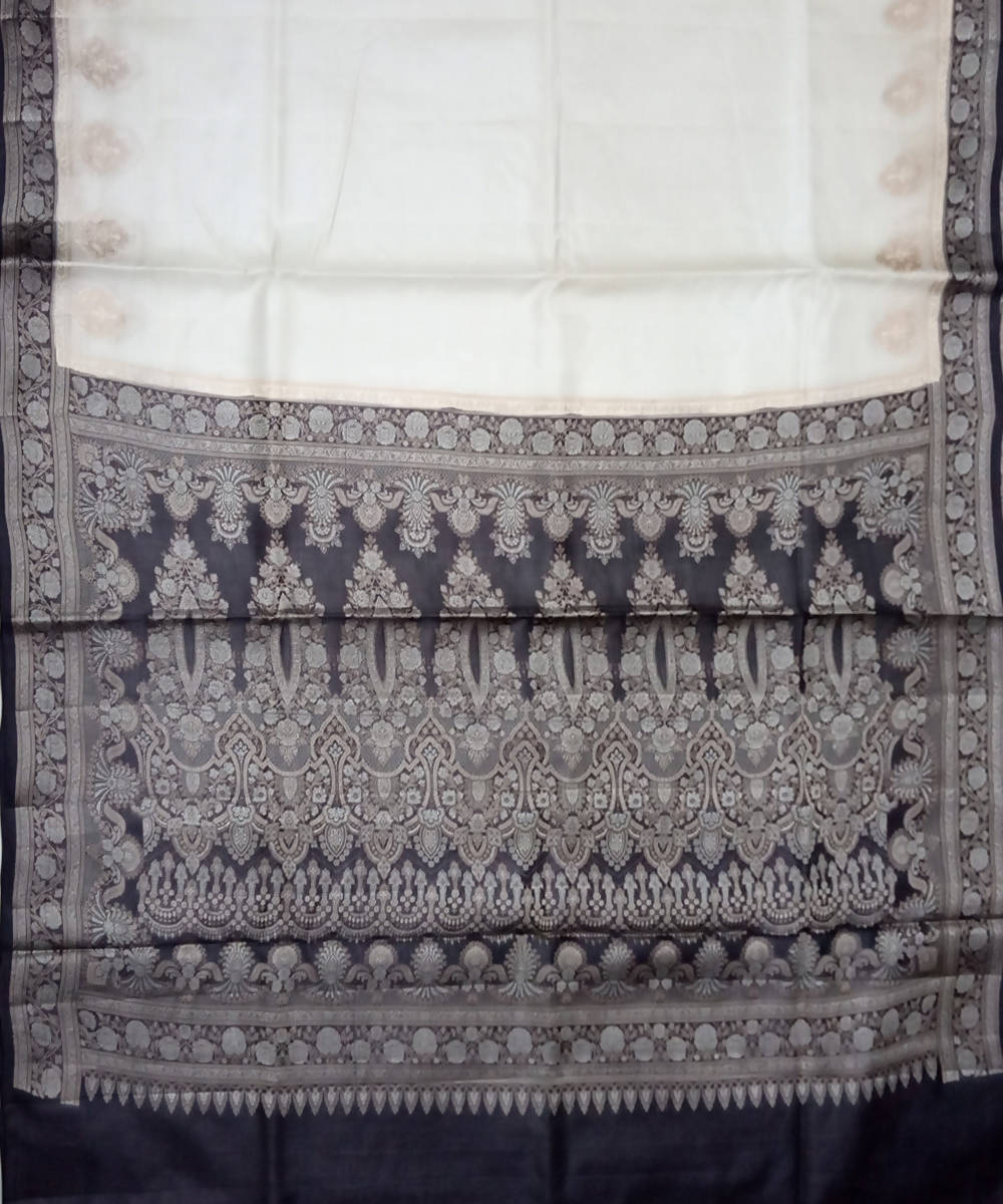 Banarasi White Black Handloom Silk Saree