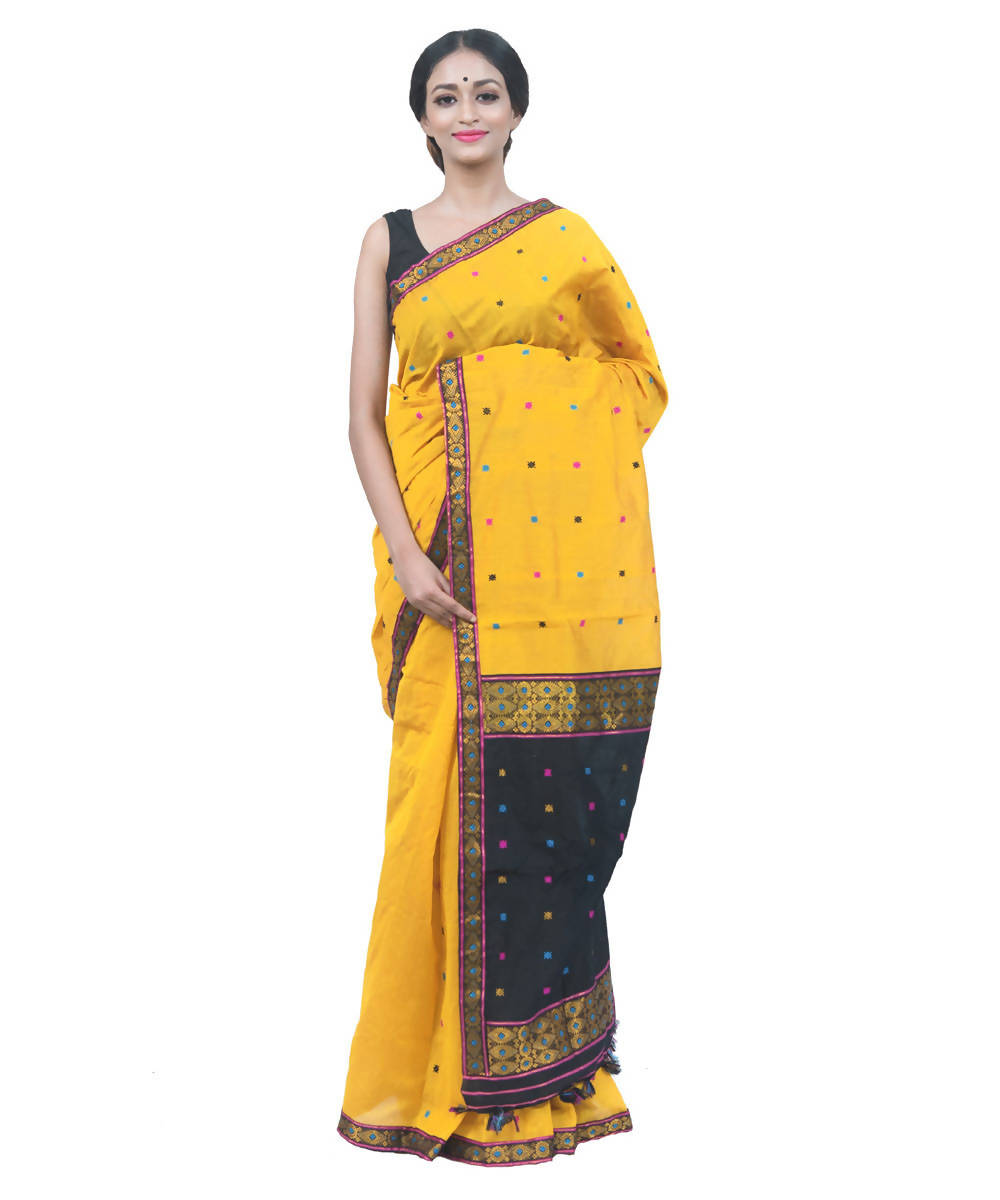 Yellow and black handwoven assam cotton saree