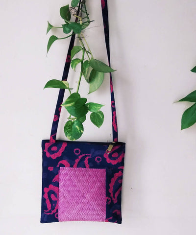 Purple Fuchsia Handwoven Sitalpati and cotton fabric Sling Boho Bag
