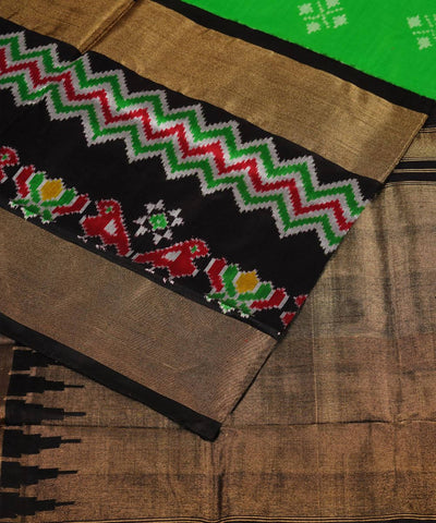 Handloom Pochampally Green Black Silk Saree