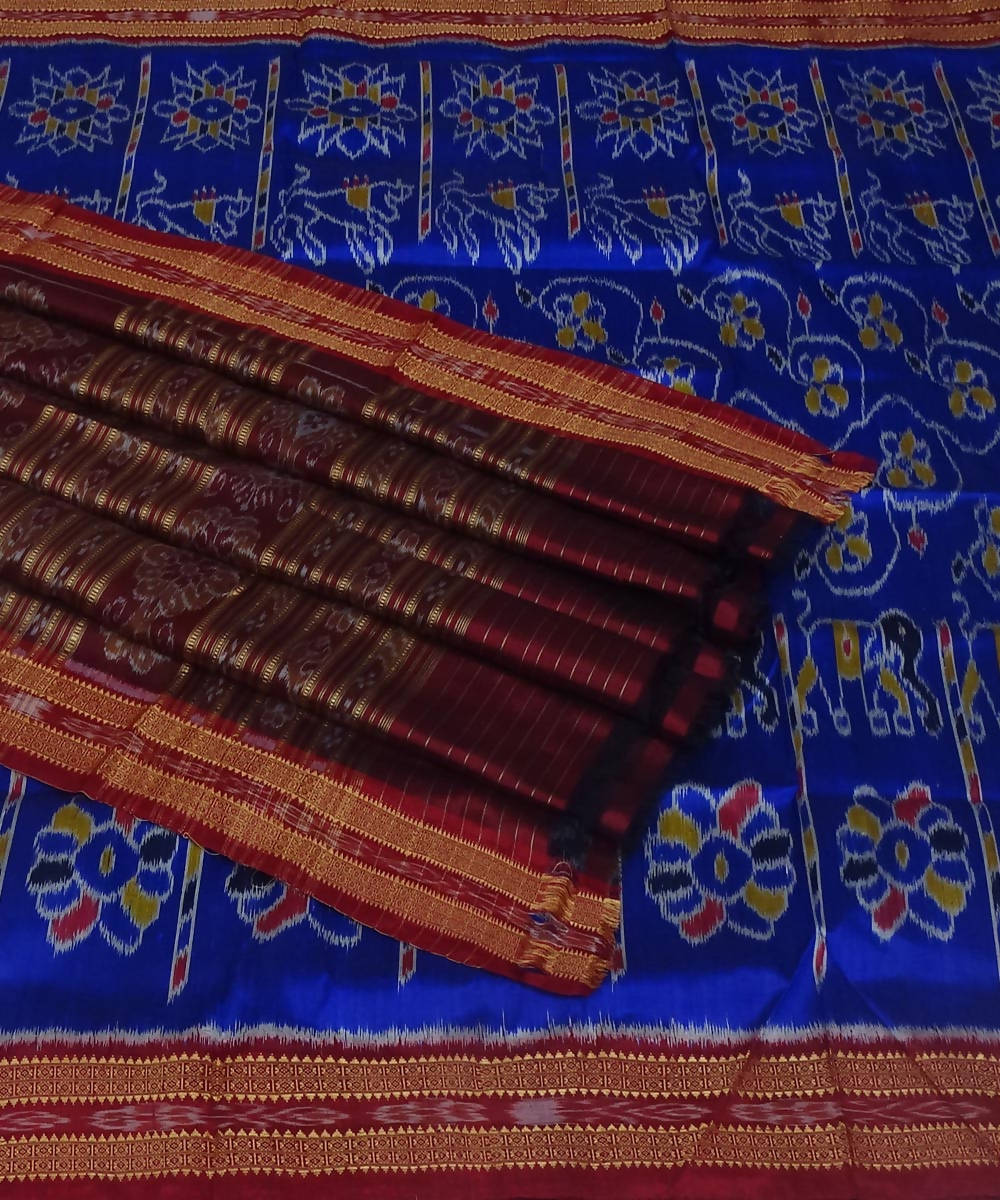 Khandua handwoven blue maroon silk saree