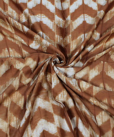 Shibori Print Brown Chanderi Kurta Fabric