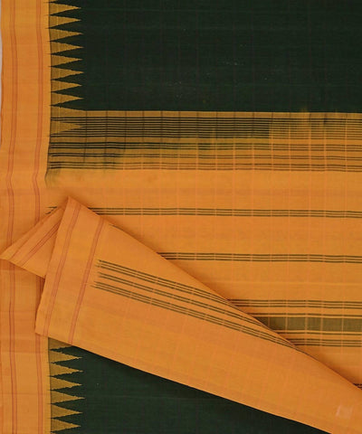 Black handloom kanchi cotton saree yellow silk korvai temple border