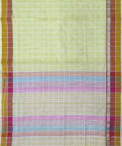 Light Yellow self checks Handwoven Cotton Venkatagiri Saree