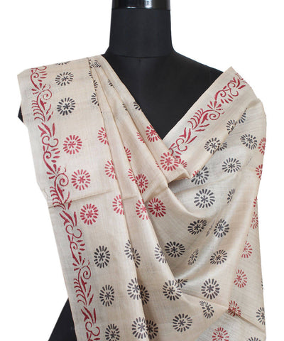 Beige Black Red Handloom Tussar Silk Dupatta