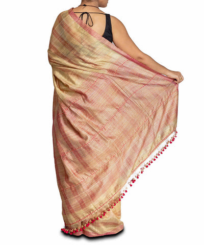Gold hued handwoven matka silk saree