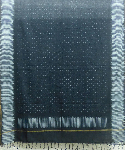 Black Handwoven Cotton Shibori Dupatta