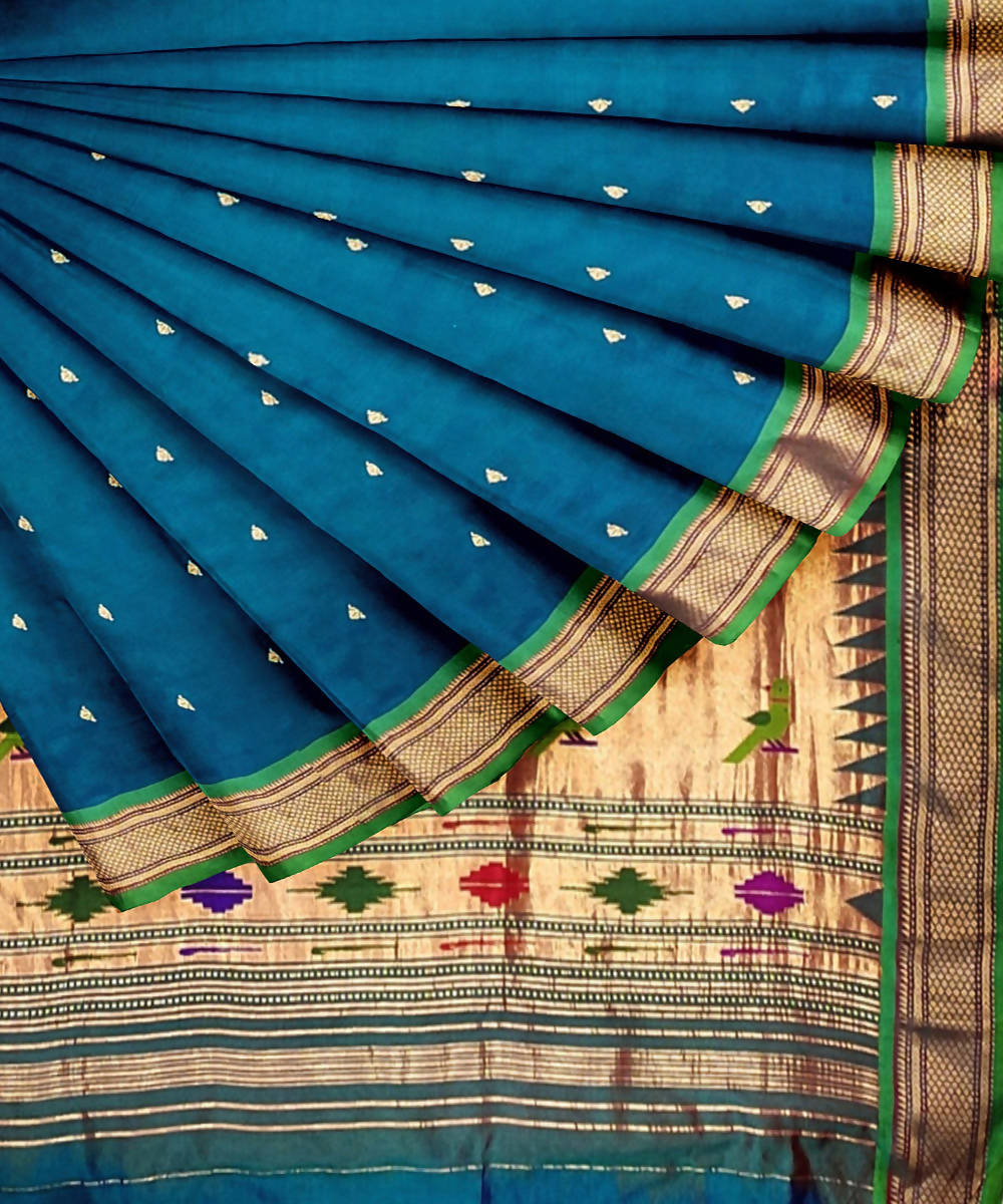 Peacock blue handwoven paithani silk saree