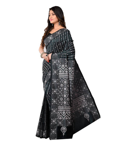 Black Kantha Stitch Bengal Handwoven Saree