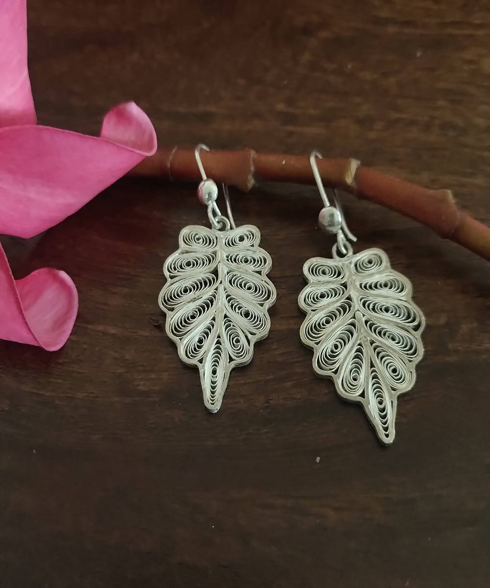 silver filigree leaf hand crafted earrings