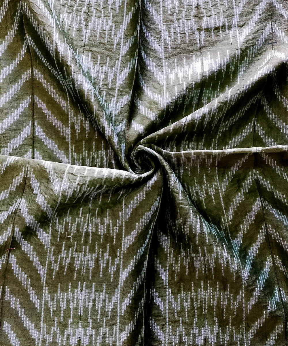 Shibori moss Green Chanderi Kurta Fabric