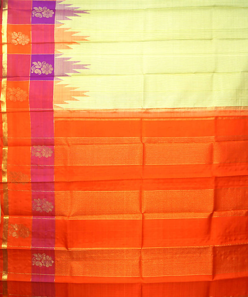 Cream Orange Handloom Thirubuvanam Silk Saree