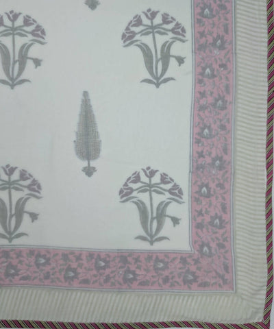 Cypress Tree Handblock Print Mulmul Summer Cotton Dohar