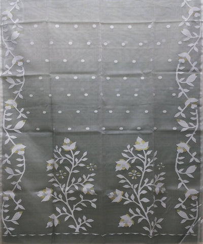 Grey handwoven Resham silk jamdani Saree