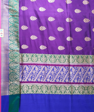 Banarasi Violet and blue Handloom Katan Silk Saree