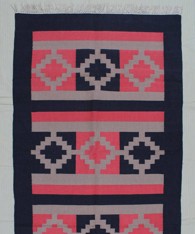 Pink and Black Handwoven Cotton Dhurrie
