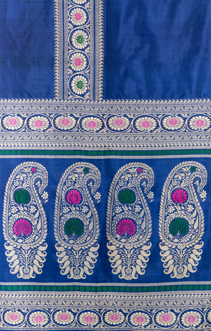 Biswa Bangla Handwoven Blue Baluchari Silk Pargalani Saree