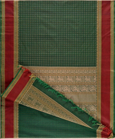 Forest green Handloom Kanchi cotton thread work checks saree