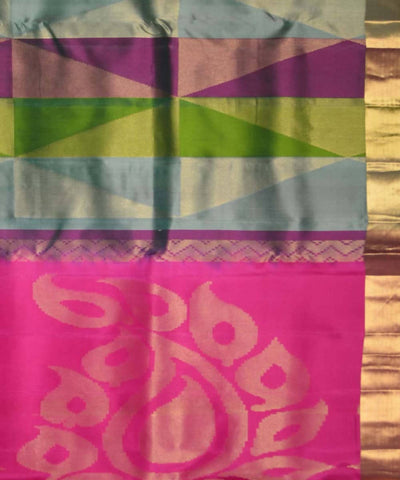 Multicolor Handloom Brocade Work Soft Silk Saree