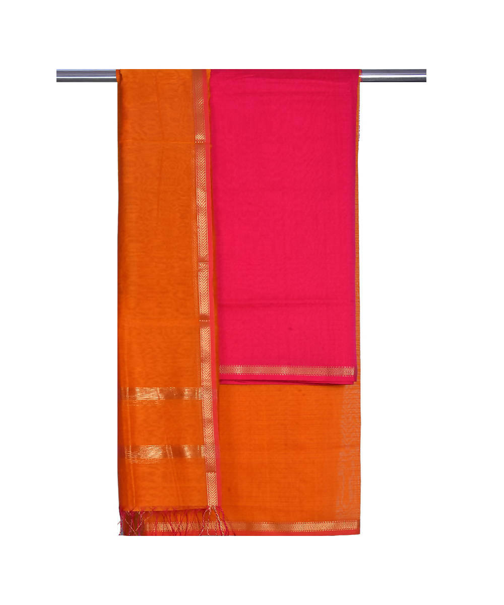 Maheshwari Handloom Pink Orange Suit Set