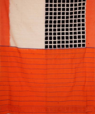 White Orange Handloom Ikkat Cotton Saree