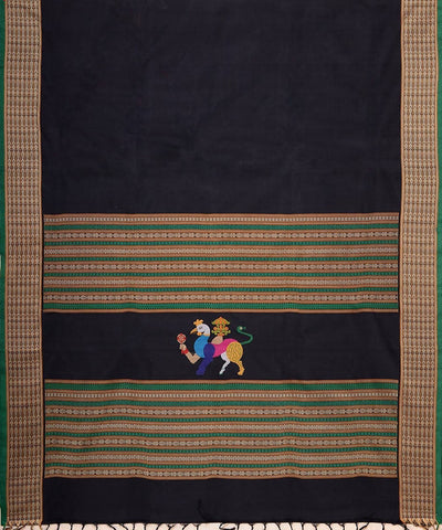 Black and beige Handloom Kanchi thread work cotton saree