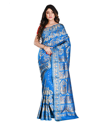 Bengal Handloom Blue Baluchari Silk Saree