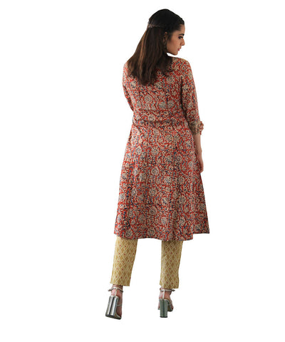 Off white and orange kalamkari tassel a line kurta with narrow pants cotton set