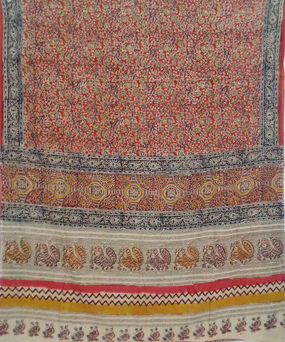 Colourful Kalamkari handblock print cotton saree
