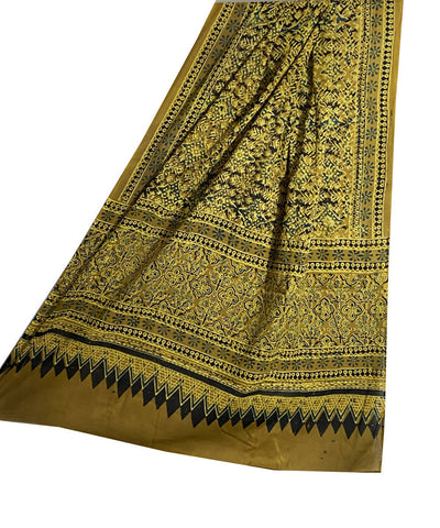 Yellow and green cotton ajrakh handblock print dupatta