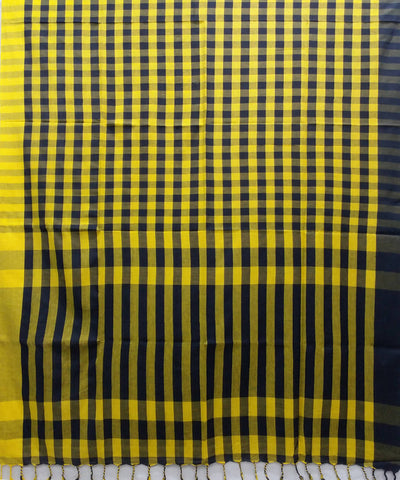 Yellow and black checks handspun handwoven cotton bengal saree