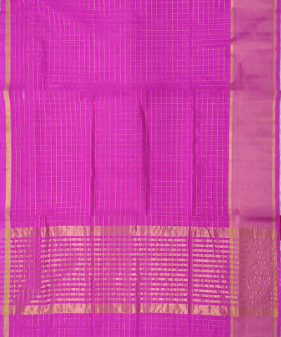 Magenta zari checks Handwoven Cotton Venkatagiri Saree