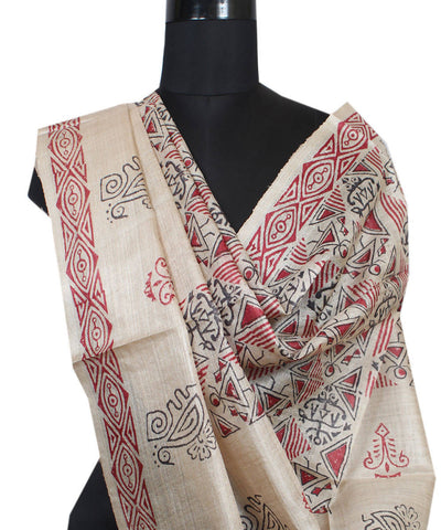 Handloom Beige with Black Tussar Silk Dupatta