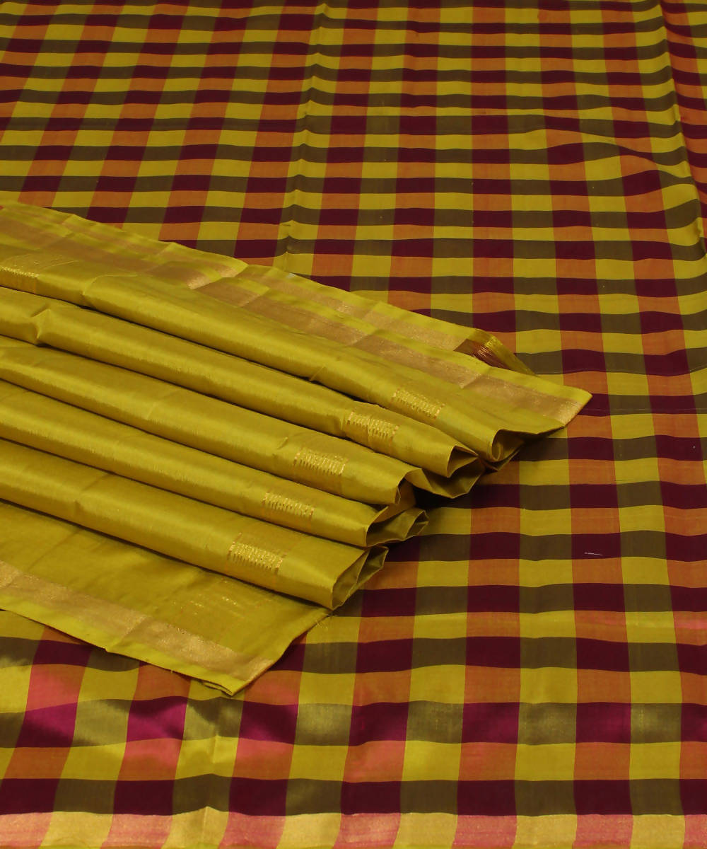 Yellow Red Checks Khadi Handloom Silk Saree