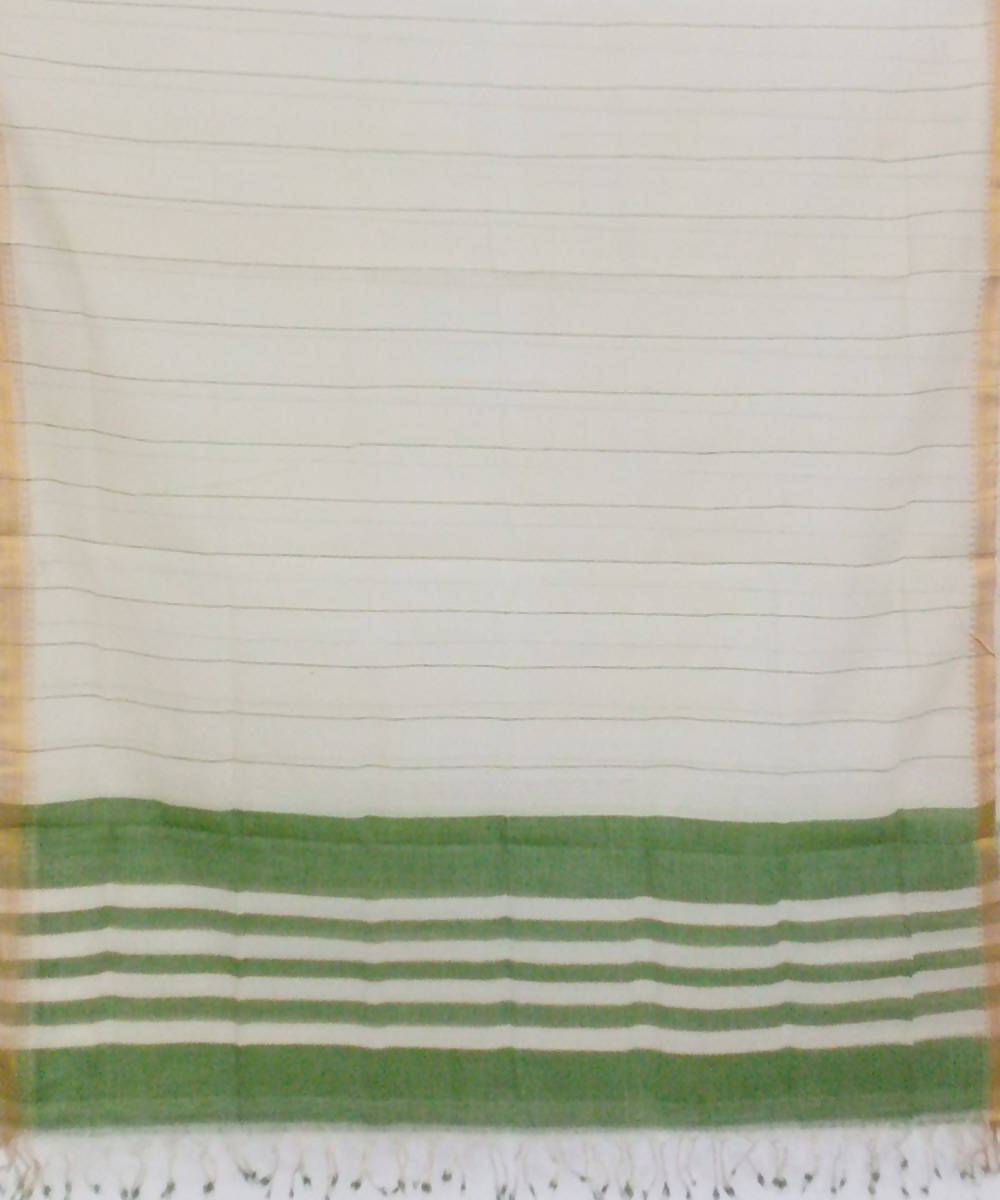white green handwoven cotton dupatta