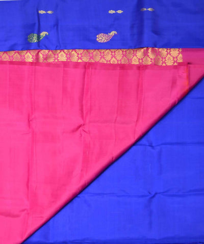 Royal Blue Pink Handloom Dharmavaram Silk Saree