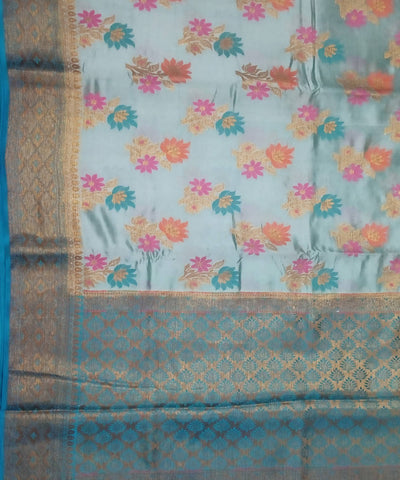 Light blue handloom katan silk banarasi saree