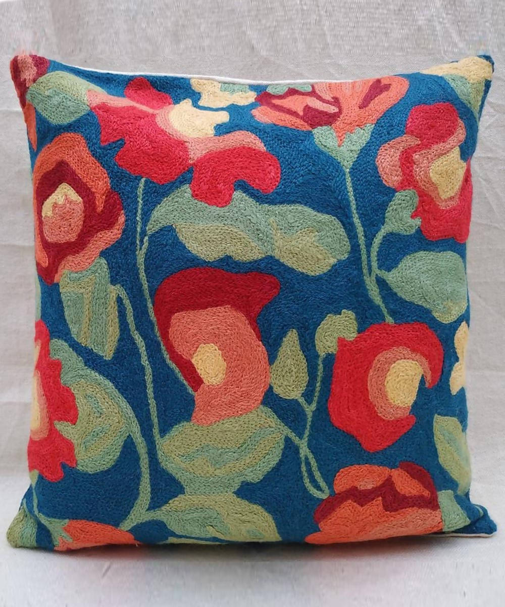 Blue green hand embroidery cotton woolen cushion cover