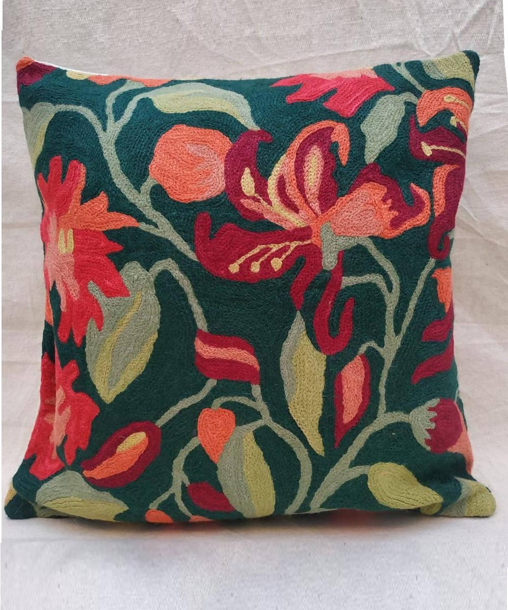 Green hand embroidery cotton woolen cushion cover