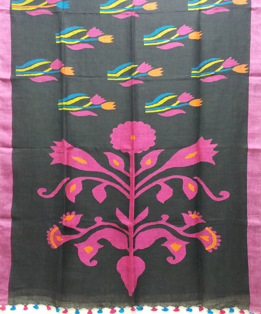 Handwoven bengal jamdani linen black and pink saree