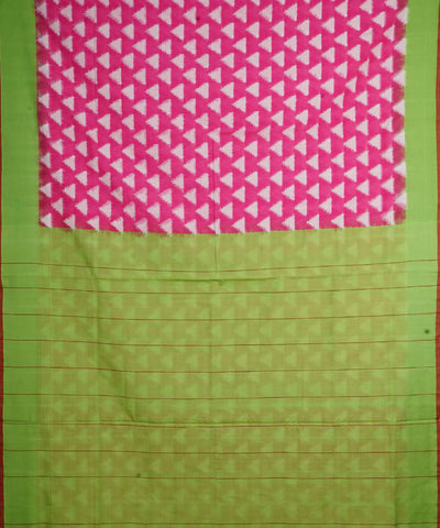 Pink Green Handloom Ikkat Cotton Saree