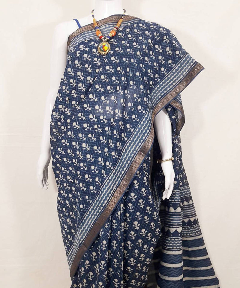 Indigo dyed hand printed chanderi cotton silk saree